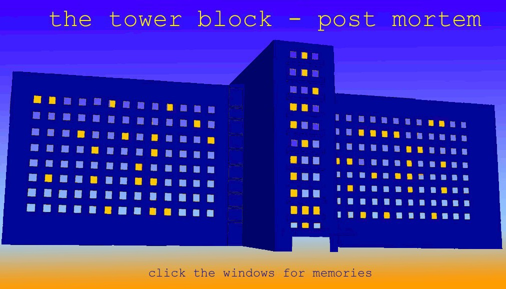 The tower block - post mortem. Click the windows for memories